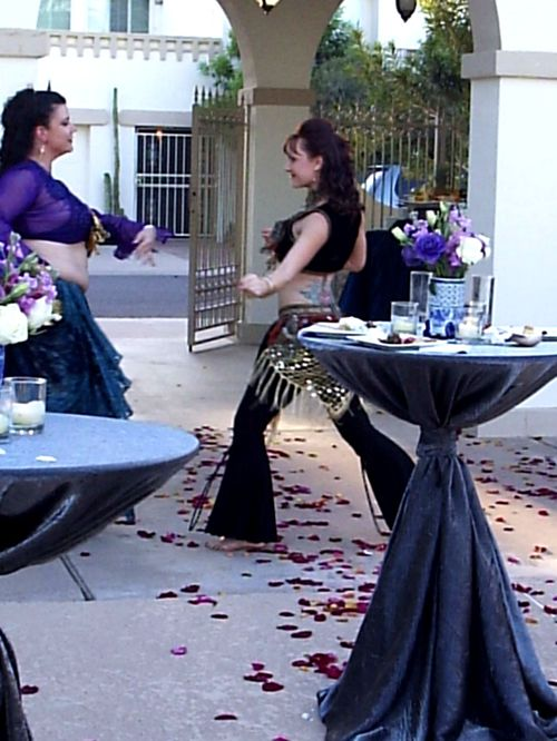 Sherry Fragosa and Gina Cinardo 'dueling' in a bellydance routine
